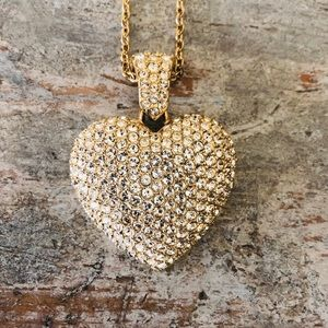 ♥️ Swarovski ♥️ Gold Heart Puffed Pendant Necklace